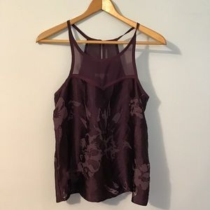 American Eagle Eggplant Floral Sleeveless Blouse